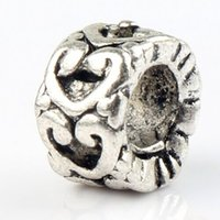 Metals antique jewelry metal flower - MIC x10x6mm Antique Silver Flower Heart Spacer Alloy Metal Big Hole Beads Fit European Charm Bracelets Jewelry DIY L1373