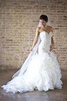 Wholesale NEW Hot Custome Made Wedding dresses Mermaid dresses bride dress trailing Sexy Pearl Organza Sweetheart Bridal Wedding Dress
