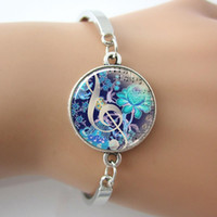 art quality bangle - G Clef Bracelet Music Note Bangle Glass Dome Blue Art Picture Silver Plated Cuff Bangle New gifts for Friend good quality
