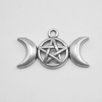 Wholesale 100pcs DIY Triple Moon Tattoo Symbol Moon And Star Goddess Religious Antique Silver Plated Charms H107816