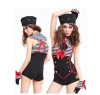 cheerleading uniforms - New sexy zentai Navy striped sailor dress clothes clothing bar night games ds lead dancer dancing dress female pipe Cheerleading Uniforms