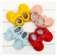Wholesale 2015 spring autumn Leather baby shoes tassel bowknot hand made soft bottom shoes baby shoes baby shoes first walkers baby baptism shoes m118