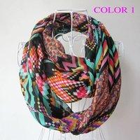 Wholesale Fashion women scarf Infinity Scarves Chevron Wave Print Scarf Circle Loop