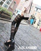 Cheap AB.M IDEA Woman Fashion Sexy Leggings Women Fitness Lace Leather Stripes Double Leggings The Roses Leggings TW285