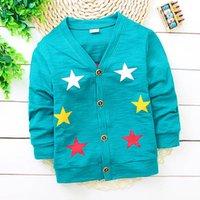 Wholesale LINDA Autumn Fashion Children Sweaters Boys and Girls Stars Cardigan Jacket Child Kids Long Sleeves Outwear