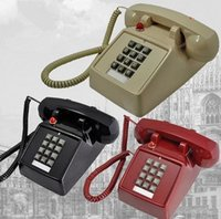 push button phone - BLACK RETRO PUSH BUTTON CORDED DESK PHONE VINTAGE LOOK NEW vintage wall phone cordless phone home telephone