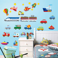 aircraft wall papers - Cartoon car aircraft ship DIY Vinyl Wall Stickers For Kids Rooms Home Decor Art Decals D Wallpaper decoration adesivo de parede