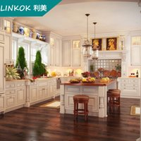 bar furniture suppliers - Linkok Furniture China supplier solid wood kitchen furniture modern cabinet with eating bar