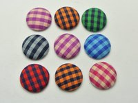 16mm - 50 Mixed Color Flatback Grid Fabric Covered Buttons Round mm for DIY Hair Clip