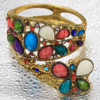 Wholesale Antique Bronze Colorful Bohemia Butterfly Crystal Gemstone Silver Plated Tribal Jewelry Bracelets Bangles Siamese Adjustable Rings Colors