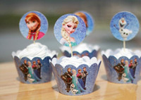 cupcake wrappers - Frozen Party Decorations Event Cupcake Wrappers Elsa Anna Princess Kristoff Cup Cake Toppers Picks Kids Birthday Supplies Party Favors