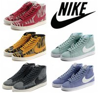 zebra print - Nike Blazer Mid Print Casual Womens Shoes Original High Cut Skate Shoes Discount Classic Campus Lovers Zebra Sneakers Authentic Boots