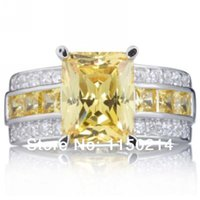 South American white topaz - sale New Size Jewelry Men women s Yellow Topaz Rings Stamp KT White Gold Filled Male ladies Rings Wedding Gift R004WYT