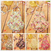 backless jumper - 6 colors baby Floral Romper Sets with Headbands Flower printed floral ruffled backless Romper girls clothes baby s JumpSuit jumper