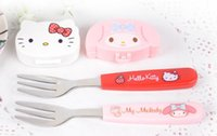 Wholesale With Cover Kawaii Cartoon Hello Kitty My Melody Stainless Steel Fruit Break Dinner Fork