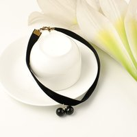 beed necklace - New Brand Woman Black Beed Necklace Collar Pearl Jewelry Necklaces Pendants Lace Velvet Stripe Accessories