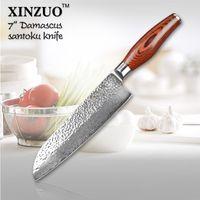 Wholesale NEW quot santoku knife layers Japanese Damascus steel kitchen knife senior vegetable knife Color wood handle free