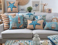 anchor housing - Mediterranean Oceanic Style Starfish Sea Horse Shell Cushions Covers Voyager Ship Anchor Light House Cushion Cover Linen Cotton Pillow Case