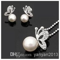 Wholesale 2014 Fashion Alloy Pearl Butterfly Stud Earrings Necklace New jewelry set W06
