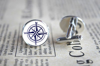 Wholesale 10pairs Nautical Compass Cufflinks Bridesmaid Cuff Links Sea Cufflinks Sailing Jewelry Gift for Boyfriend Wedding Cufflinks