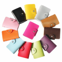 Wholesale 24 Position Fantastic Business Credit ID Card Holder Bags Leather Strap Buckle Bank Card Bag Solid Color Holder Card Wallet Card Case