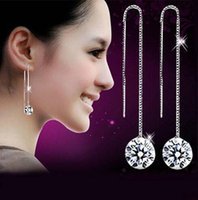 Cheap 2015 Fashion High quality Wholesale Jewelry 925 Sterling Silver Crystal Round Hook Long Dangle Earrings Earring Pendant