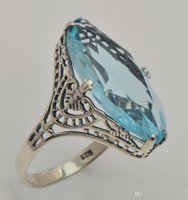 antique sapphire engagement ring - 2015 the new trend of aquamarine ring true South Korea silver antique silver ring weeding woman an engagement ring