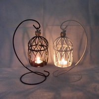 Wholesale Queen KX8001 Continental Iron Candlestick creative zakka groceries birdcage black and white optional