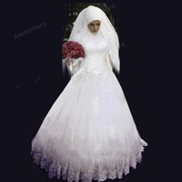 muslim bridal gown - 2015 A line wedding dress with hijab Beaded crystals High Neck Long Sleeve Dress lace sequined appliques Floor Length Muslim bridal gowns