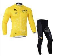 Wholesale 1PCS Yellow LC Long sleeves Cycling Jerseys Bicycle jersey Cycling Kit cycling jersey Suits cycling jersey Bike Suit cycle bodysuits