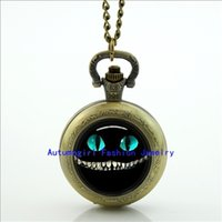alice locket - Alice in wonderland Cheshire cat pocket watch necklace Glass Locket Necklace Antique Pocket Watch Necklace WT