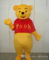 Mascot Costumes bear costume child - Real Pictures Deluxe Winnie the Pooh POOH BEAR Mascot costume Adult SIZE Halloween Party Children Fancy dress factory direct