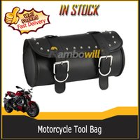 Wholesale PU Motorcycle Strap Tool Bag Black Motorbike Classic Barrel Shape Scooter Saddle Pauch Leather Motor Motorbike Tool Bags Front Rear
