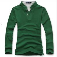 Cheap polo men 2015 New brand polo shirt Pure color Stitching standing collar Long sleeve men Polo size M,L,XL,XXL,XXXL 5 color