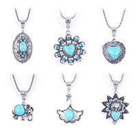 turquoise jewelry - 2015 European and American trade jewelry personalized turquoise long sweater chain necklace clavicle hollow petal spot