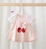 baby blue ribbon - Summer Baby Girls Cherry Transparent Short Sleeve T Shirts Toddler White Pink Yellow Blue Cute Ribbon Tops Shirts Children Clothes B3516