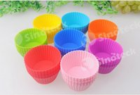 Wholesale Silicone Baking Mold cm Cakes Molds Non stick Muffin Snacks Gelatin Bakeware Cupcake Liner Baking Molds Free DHL Fatory Direct