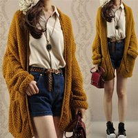 Cheap Dropshipping Womens Oversized Knitted Turn Down Collar Sweater Batwing Sleeve Tops Cardigan Outwear Free Size
