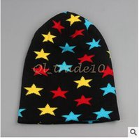 Cheap 500pcs LJJC2780 New Arrival Spider Five Star Snowflake Printed Knitted Beanie Hat Snowflake Hiphop Skateboard Beanies Stocking Cap Skull Hat