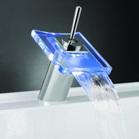 Cheap Battery power LED Color Changing Basin Faucet Bathroom Deck Mount Waterfall Glass Mixer Taps Chrome Finish