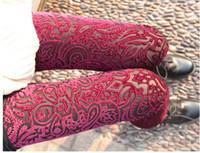 gold leggings - New Women s Pants Leggings Laser Embroidery Pattern Gold Velvet Backing Pants