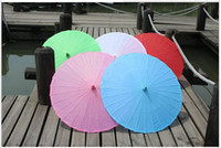Wholesale Hot Wedding Parasols Paper Parasol Sun Umbrellas Bridal Accessories Handmade Solid Color Paper Umbrella Sunshade