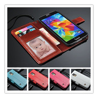 Wholesale Fashion Leather Flip Wallet Card Stand Case Cover Phone case Cover skins For Samsung Galaxy S5 i9600