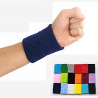 Wholesale 5 Sizes Men Women Sports Sweatband Tennis Squash Badminton Terry Cloth Wrist Sweat Bands Basketball Gym Wristband Crossfit Wrist Wraps