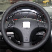 Wholesale XuJi Steering Wheel Cover for Old Mazda Mazda Mazda Car Special Hand stitched Black Genuine Leather Covers