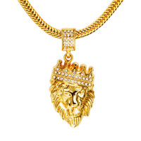 Wholesale Hip Hop Lion Crown Crystal Rhinestone Head Face Pendant K Gold Plated Chain Necklace Hipster Street Dance Hiphop Fine Jewelry Men Women