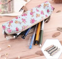 Cheap Fashion Hot High Quality Mini Retro Flower Floral Lace Pencil Case pencil bag school supplies Cosmetic Makeup Bag Zipper Pouch Purse