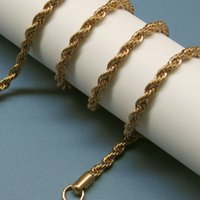 american grade - Top Grade Golden Chains Necklaces For Men Titanium Steel Rope Chain Necklace mm size inch Jewelry Free Ship LDN