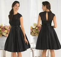 Wholesale Simple Cheap Black Sheer Bridesmaid Gown Cocktail Dress A line Jewel Cap Sleeves Knee Length Bow Satin Party Dresses Short Bridesmaid Dress