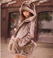 Fashion Faux Fur Hooded Long Sleeve Coat little bear Ears Tail Topwear Faux rex rabbit fox fur Coat for womens Plus Size WT20